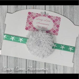 Handmade white and teal headband!
